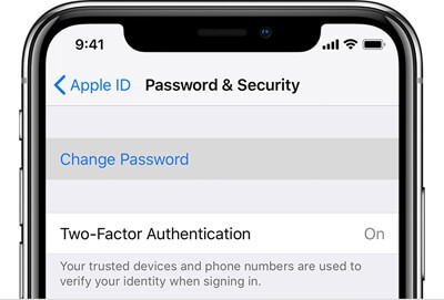apple id password security change password
