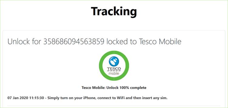 tesco mobile unlock complete