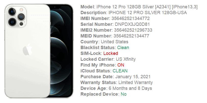 iphone 12 pro xfinity imei check