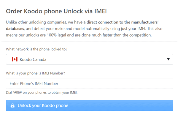 order koodo unlock